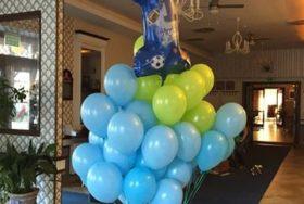 Poczta balonowa - niebieskie i zielone balony