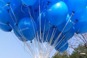 Niebieski bukiet balonów