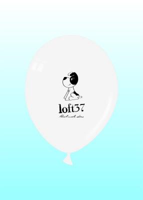 Loft37 - biały balon z czarnym nadrukiem