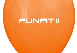 Pomarańczowy balon z nadrukowanym logo