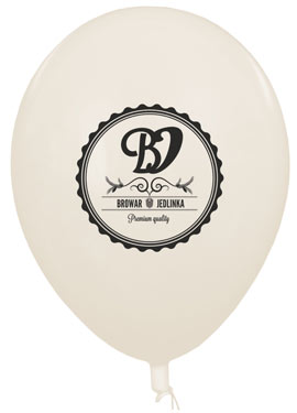 Biały balon z logotypem