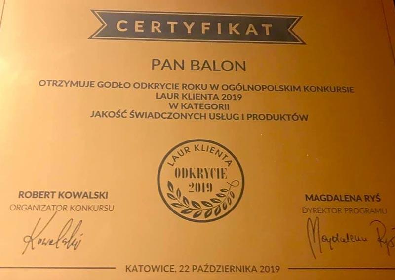 Balony Wrocław - zdjecie laur-konsumenta-certyfikat